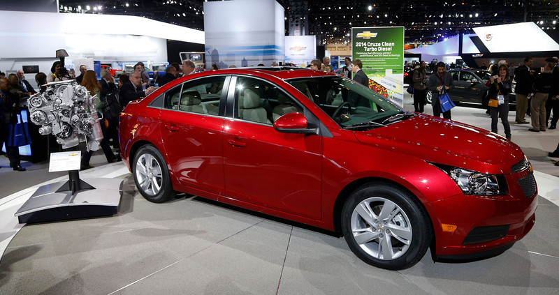 . The 2014 Chevrolet Cruze Diesel is unveiled at the Chicago Auto Show Thursday, Feb. 7, 2013, in Chicago. (AP Photo/Charles Rex Arbogast)