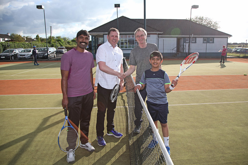 Barry Cowen TD had a game of doubles (with Winston Oliver, Tom O'Donovan and Winston's son Wyatt) at Tullamore Tennis Club's open night on Monday - 17th June 2019     Picture. Niall O'Mara