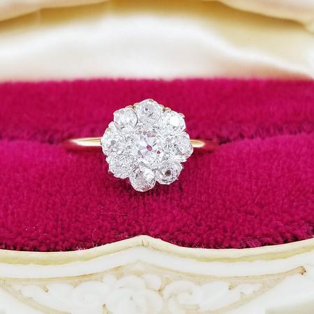 0.71ctw (est) Old European Cut Diamond Daisy Ring