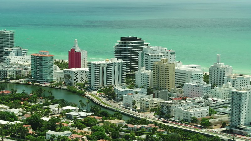 Aerial Miami Beach Indian Creek homes and condos 4k