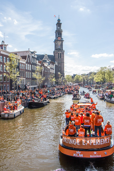 King's Day off Prinsengracht at De Nieuwe Kerk