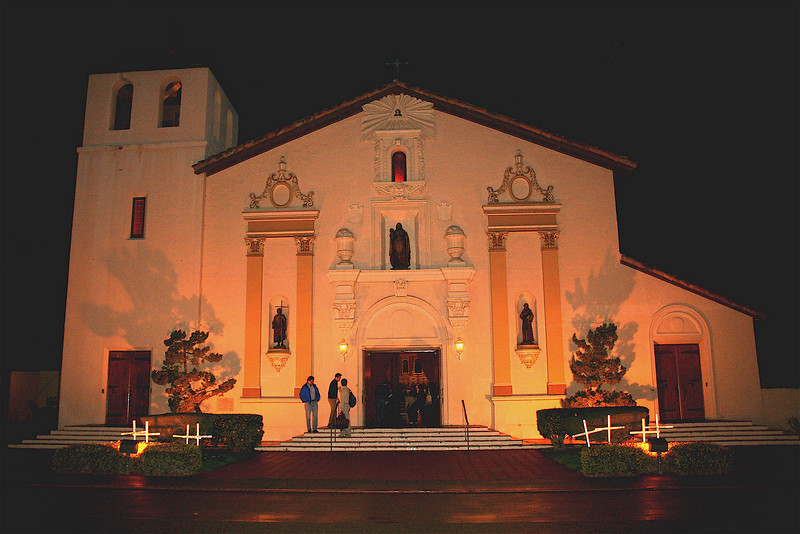 Restored Mission Santa Clara de Asis on the Santa Clara University campus.