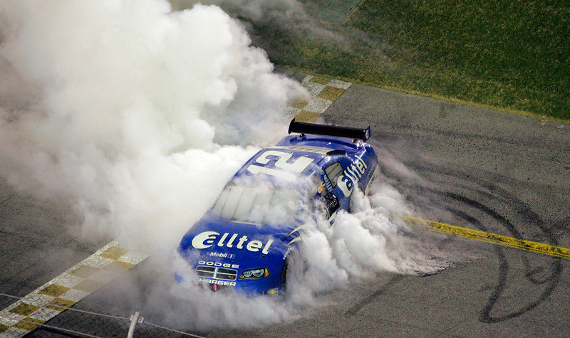 . NASCAR driver Ryan Newman smokes his tires after winning the 50th running of the Daytona 500 auto race Sunday, Feb. 17, 2008 at the Daytona International Speedway in Daytona Beach, Fla. (AP Photo/Chris O\'Meara)