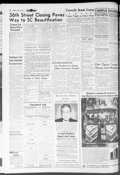 Daily Trojan, Vol. 47, No. 104, April 03, 1956