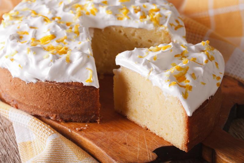 Tres Leches Cake Sliced Close-up. Horizontal