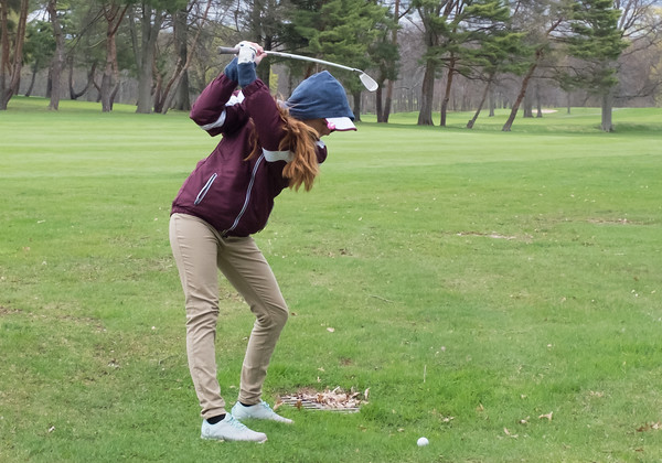04/30/18 Wesley Bunnell   Staff Newington girls golf vs New Britain on Monday afternoon at Indian Hill Golf Club in Newington. New Britain's Kiley Griffin.