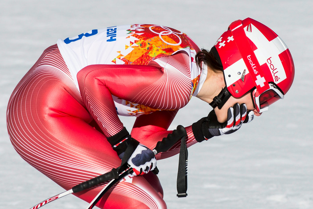 . Dominique Gisin of Switzerland reacts after her run during the Women\'s Downhill race at the Rosa Khutor Alpine Center during the Sochi 2014 Olympic Games, Krasnaya Polyana, Russia, 12 February 2014.  EPA/JEAN-CHRISTOPHE BOTT