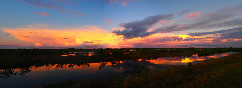 Sunset from Biolab Road (panorama) Merritt Island NWR, Florida December 2012