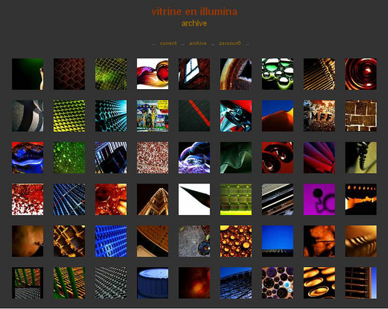http://vitrineenillumina.zerosun6.com/index.php  Photoblog di Derek Hahn, con immagini astratte
