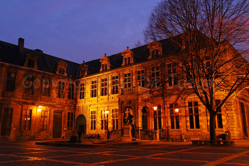 The Hendrik Conscienceplein (Hendrik Conscience square) in Antwerp (Antwerpen), Belgium, captured at dusk.
