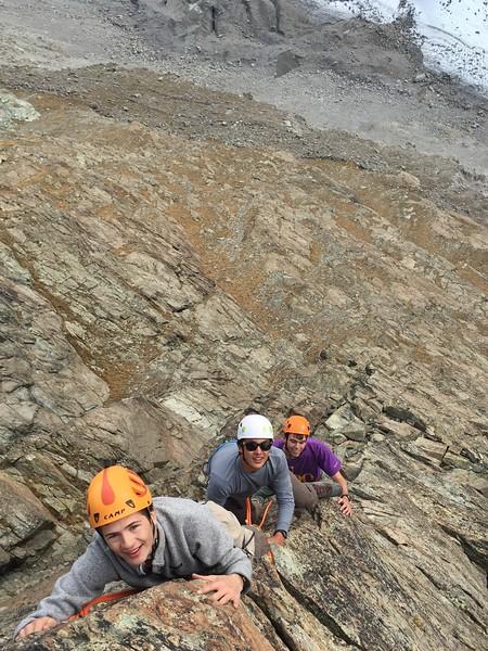 Walker, Chris and Mr. Wommack climbing on Riffelhorn