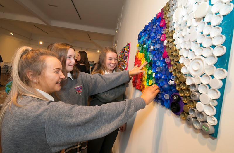 """15/01/2019. FREE TO USE IMAGE. Pictured at Garter Lane Arts Centre, Waterford city at an art exhibition """"the good, the bad and the ugly"""" that discusses plastics. Recycle, reuse, reduce, replace – WIT and Waterford schoolgirls to exhibit exceptional art installation with thought-provoking components made from household plastics, pictured are Caoimhe Forest, Muireann Kinsella, Chloe Brianna from Waterpark School. Coordinated by Calmast, Waterford Institute of Technology's STEM (science, technology, engineering and maths) outreach centre, with support from Creative Ireland (Waterford), girls from Presentation Primary and Presentation Secondary Schools created an exceptional art exhibition that discusses plastics. Picture: Patrick Browne"""
