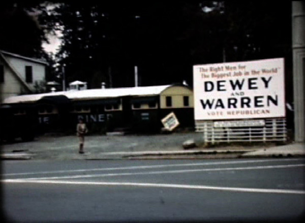 From the 1948 film, this frame shows The Union Diner and a campaign sign for Thomas E. Dewey for president.