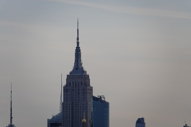 Telephoto towards the Empire State Building, three miles from the Brooklyn Bridge.