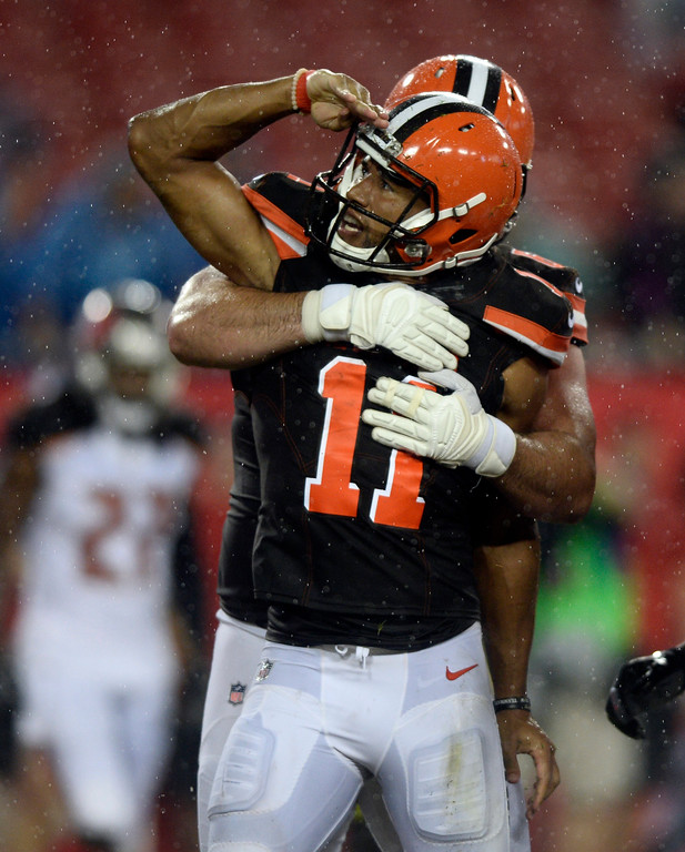 . Cleveland Browns wide receiver Jordan Leslie celebrates after scoring on a five-yard touchdown reception during the fourth quarter of an NFL preseason football game against the Tampa Bay Buccaneers Saturday, Aug. 26, 2017, in Tampa, Fla. (AP Photo/Jason Behnken)