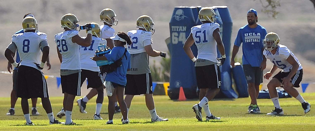 . The UCLA Bruins football team continue with their preseason camp at Cal State University of San Bernardino, Friday August 16, 2013. The Bruins have one more days of summer practice before returning to Westwood. LaFonzo Carter/Staff Photographer