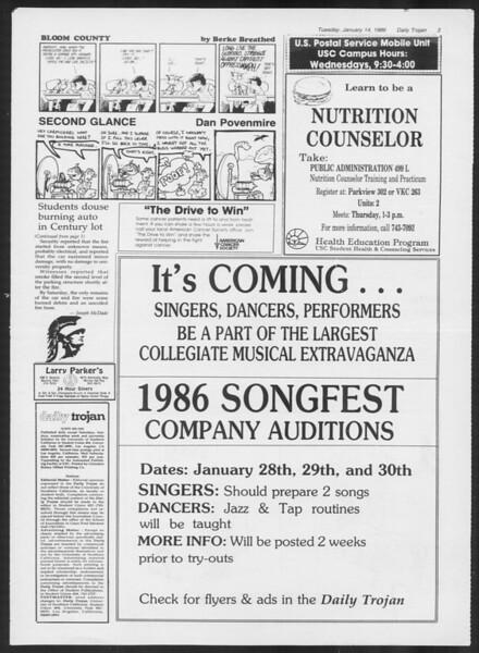Daily Trojan, Vol. 100, No. 3, January 14, 1986