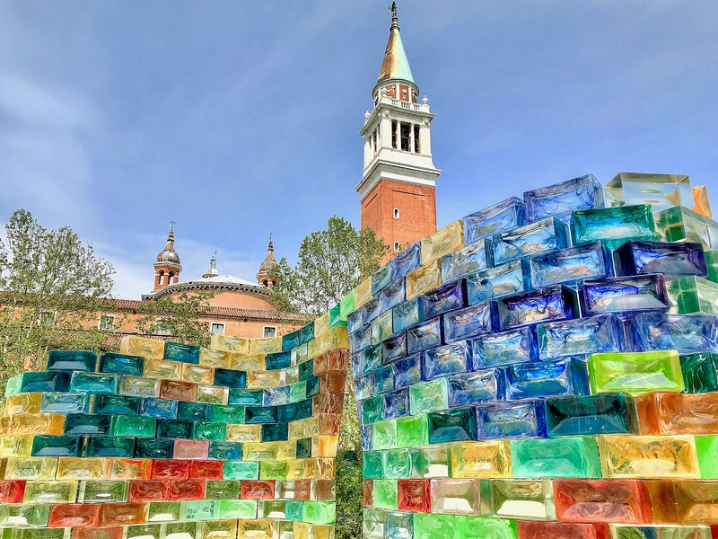 Part of a glass snake sculpture in the gardens of the Church of San Giorgio Maggiore