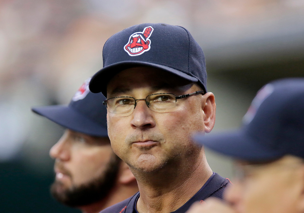 . Cleveland Indians manager Terry Francona watches from the dugout during their game against the Detroit Tigers of a baseball game Friday, June 12, 2015, in Detroit. (AP Photo/Duane Burleson)