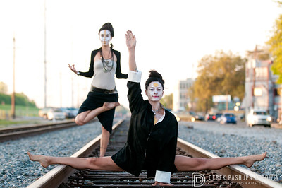 Libby & Chloe on the tracks in New Orleans. Makeup & hair by Libby's husband, Herman Trogger.