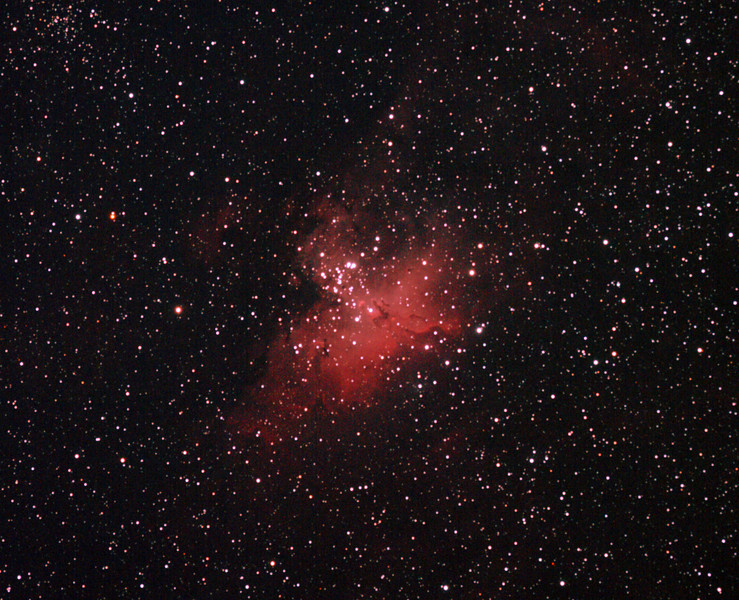 Messier M16 - NGC6611 - Gum 83 - Eagle Nebula and Cluster - 28/5/2011 (Reprocessed stack)