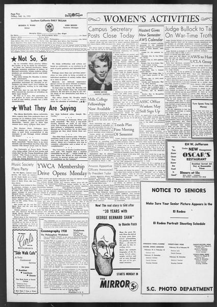 Daily Trojan, Vol. 42, No. 73, February 16, 1951
