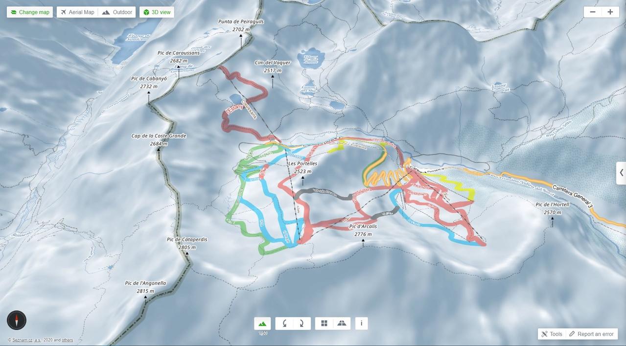 Mapa de esquí 3D de Mapy
