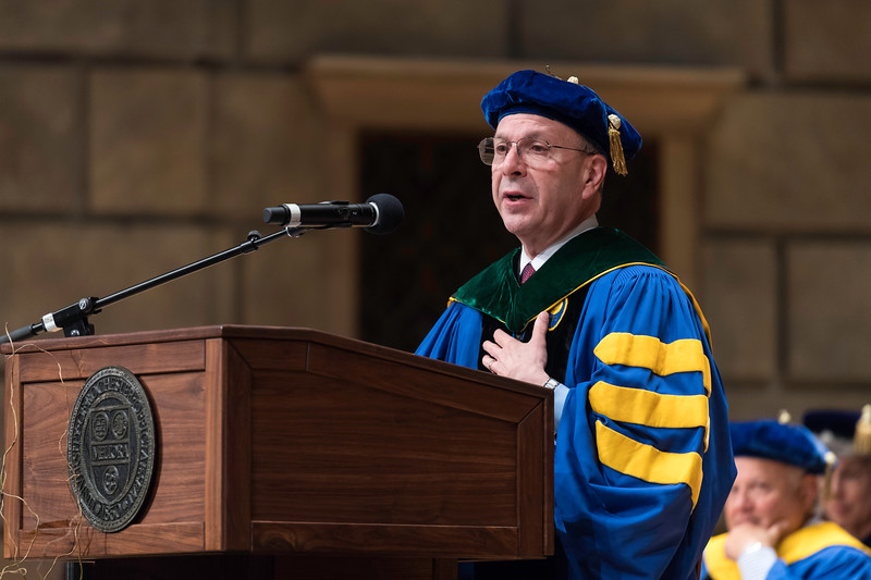 Mark B. Taubman, MD, CEO, University of Rochester Medical Center and UR Medicine; Dean, School of Medicine and Dentistry; Senior Vice President for Health Sciences, makes remarks. // University of Rochester School of Nursing Commencement, Kodak Hall at Eastman Theatre May 17, 2019.  // photo by J. Adam Fenster / University of Rochester