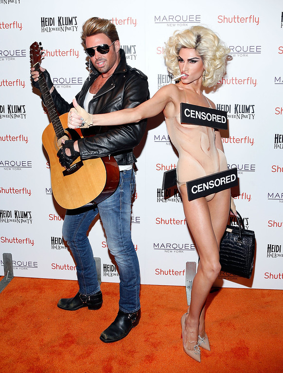 . Designers David Blond and Phillip Blond attend Shutterfly Presents Heidi Klum\'s 14th Annual Halloween Party sponsored by SVEDKA Vodka and smartwater at Marquee on October 31, 2013 in New York City.  (Photo by Cindy Ord/Getty Images for Heidi Klum)