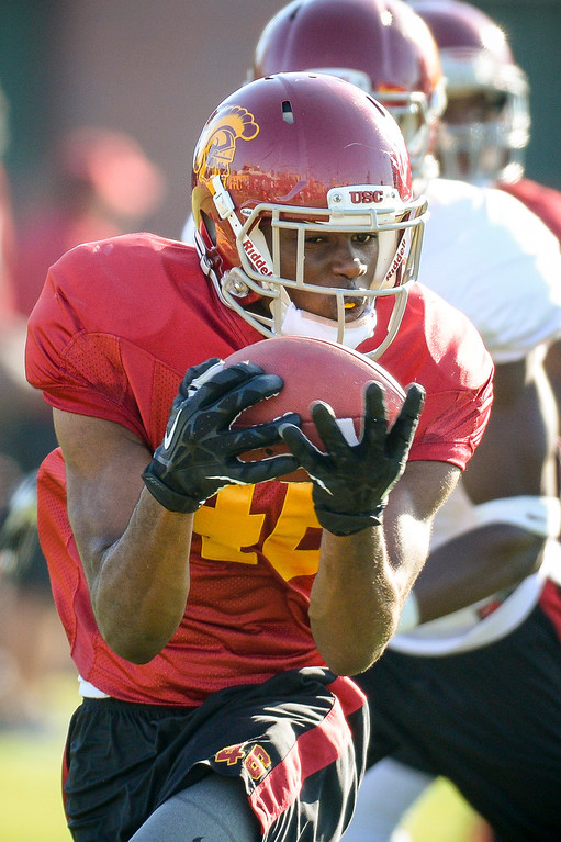 . USC�s Aaron Minor during spring practice at USC Tuesday, April 15, 2014.  (Photo by David Crane/Los Angeles Daily News.)