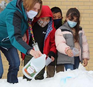 ELL students at McPhee Elementary create snow volcanoes