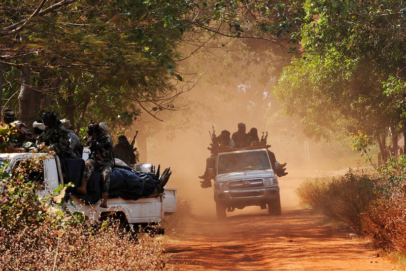 ". Chadian soldiers, part of a convoy of the FOMAC multinational force of central African states, man a position near Damara on January 2, 2013. The commander of the multinational African force FOMAC warned rebels in the Central African Republic against trying to take the key town of Damara, saying it would ""amount to a declaration of war\"". Damara is the last strategic town between the Seleka rebel coalition and the capital Bangui, after the rebels seized much of the country in a three-week advance that began in the north and has brought them to within 160 kilometres (100 miles) of the capital, in the south. SIA KAMBOU/AFP/Getty Images"