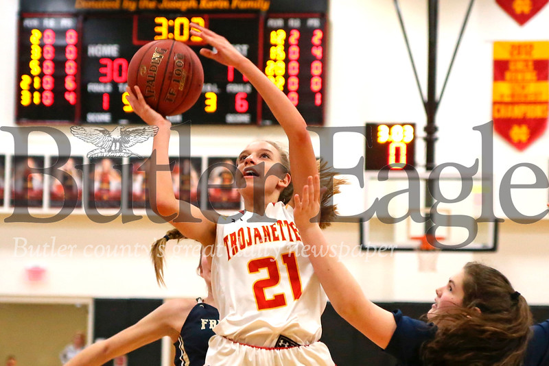 North Catholic's Kylee Lewandowski drives to the hoop for a layup in te Trojanettes 61-42 home win over Freeport. Seb Foltz/Butler Eagle