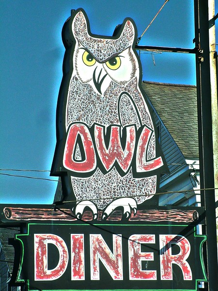 Owl Diner sign - Lowell, MA
