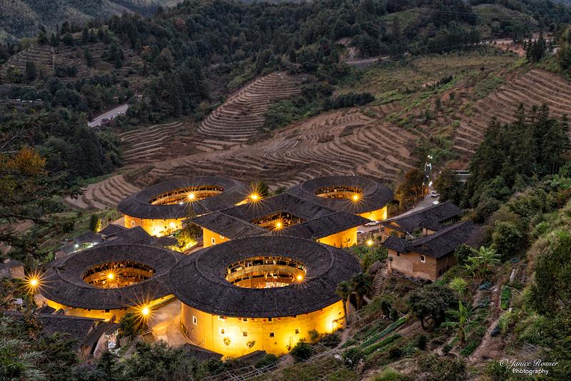 Round houses at night