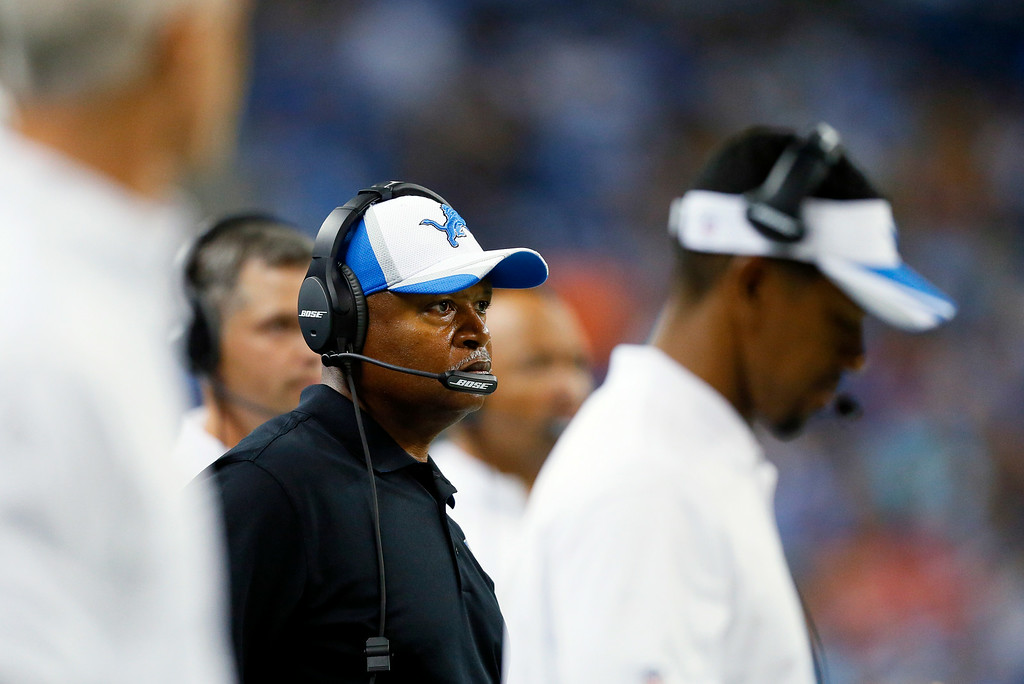 . Detroit Lions head coach Jim Caldwell watches from the sidelines against the Jacksonville Jaguars in the first half of a preseason NFL football game at Ford Field in Detroit, Friday, Aug. 22, 2014. (AP Photo/Rick Osentoski)