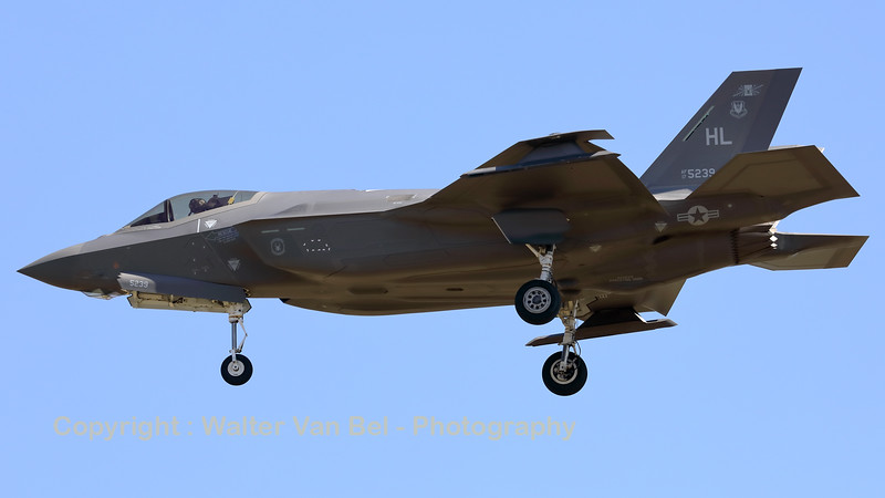 """A USAF F-35A Lightning II (17-5239; cnAF-181) is seen here on final for RWY05 at ETAD. The F-35A's from 388th FW / 421st FS and the 419th FW / 466 FS, based at Hill AFB (Utah) have been deployed to Europe as a """"Theater Security Package""""."""