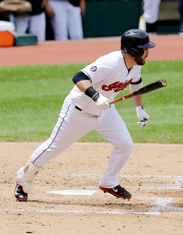 . Cleveland Indians� Jason Kipnis hits a single off Detroit Tigers starting pitcher Buck Farmer in the third inning of a baseball game, Wednesday, June 24, 2015, in Cleveland. Kipnis, the league\'s leading hitter, extended his hitting streak to 19 games. The Indians won 8-2. (AP Photo/Tony Dejak)