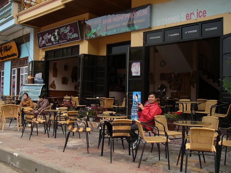 Enjoying a coffee at a cafe in Sapa