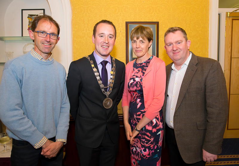 18/05/2016. Irish Accounting & Finance Accociation Annual Conference at WIT (Waterford Institute of Technology). Pictured at The Mayor's reception are Sean Byrne, Mayor Cllr. John Cummins, Joan Balintine and Joe Coughlin. Picture: Patrick Browne