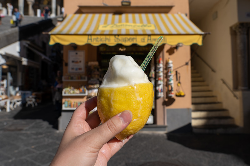 Lemon sorbet in Amalfi