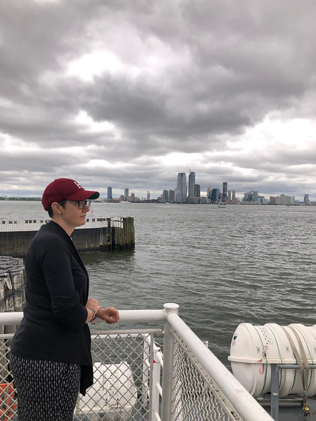 Laura Martin riding the ferry
