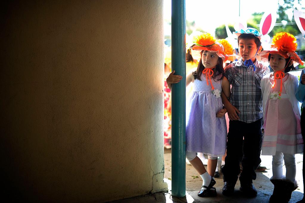 . Kindergartners wait to march during Bertrand Ave. Elementary 40th Kindergarten Spring Bonnet Parade Friday, March 22, 2013 in Reseda. (Hans Gutknecht/Staff Photographer)
