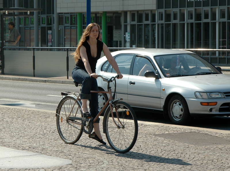Girl on bike in Leipzig