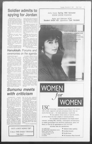 Daily Trojan, Vol. 116, No. 61, December 03, 1991