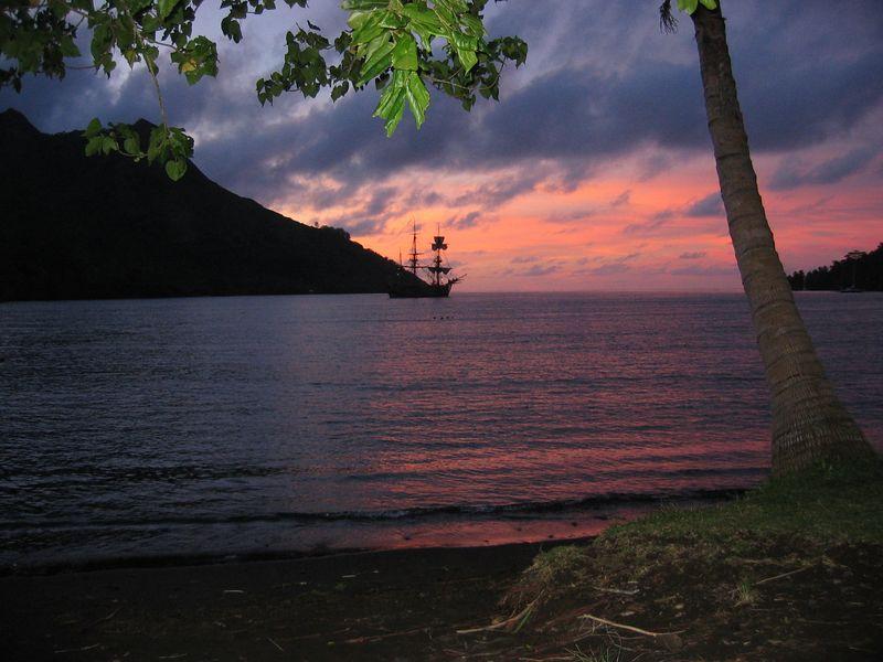Ashore at Opunohu Bay - site of Cook's landing