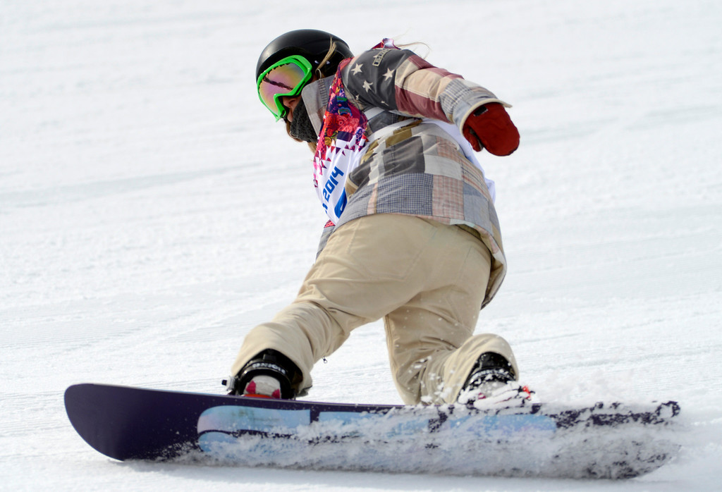 . USA\'s Jamie Anderson, of South Lake Tahoe, Calif., finishes her second run, which would win her the gold medal, for the Ladies Slopestyle finals at the Rosa Khutor Extreme Park in Sochi, Russia, on Sunday, Feb. 9, 2014.  (Nhat V. Meyer/Bay Area News Group)