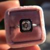 1.19ct Vintage Emerald Cut Diamond Onyx Ring, GIA E VS2 44