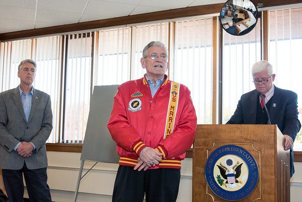10/29/18 Wesley Bunnell | Staff Congressman John Larson (CT-01) presented 14 Vietnam Veterans with Vietnam Veteran lapel pin's during a ceremony at Berlin Town Hall in commemoration of the 50th anniversary of the Vietnam War. Veterans Service Contact Person for the Town of Berlin Peter Galgano Jr, middle, speaks to attendees as Mayor Mark Kaczynski , L, and Congressman Larson (CT-01) look on.