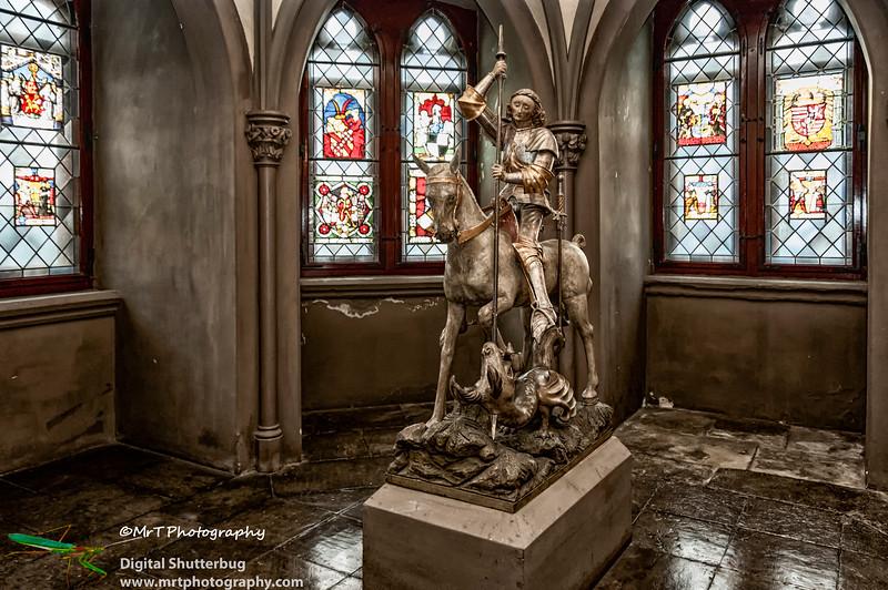 St Michael slaying the dragon Aposteltor der Kaiser Wilhem Gedächtniskirche Burg Hohenzollern Baden-Württemberg Germany